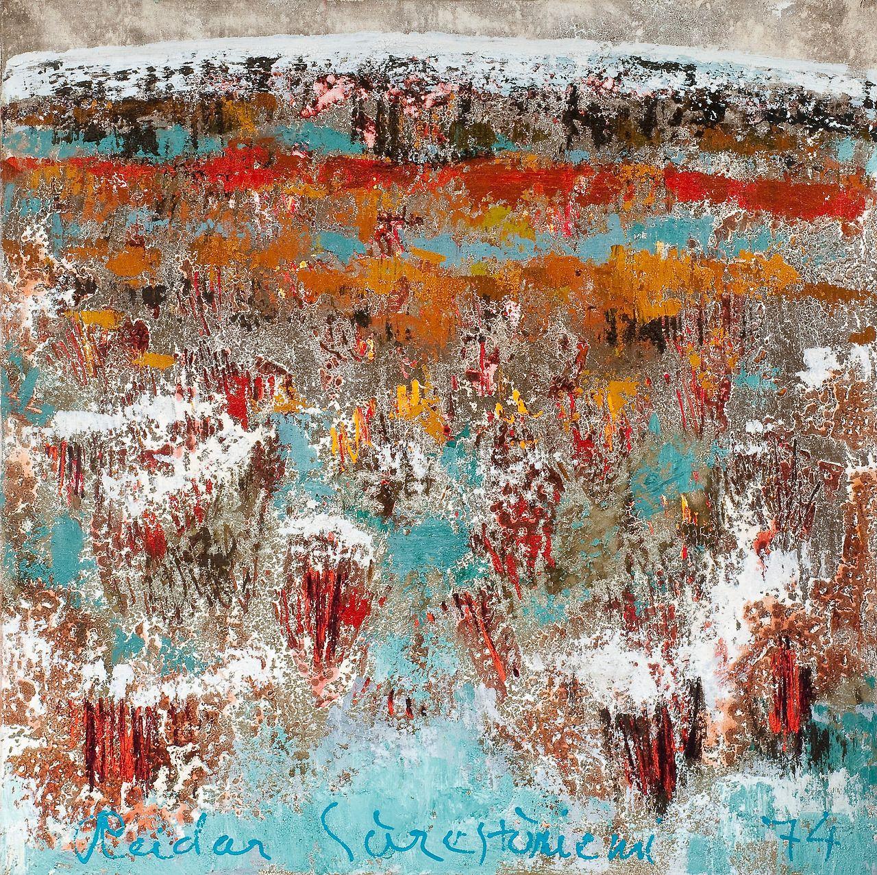 iamjapanese:  Reidar Särestöniemi(Finnish, 1925-1981) frosted Birch Grove    1970 Village in Winter     1976 Autumn Landscape(the first snow)     1973 Frosty Birches    1977 The cold night and the crescent Autumn JÄNKÄLLÄ    1974