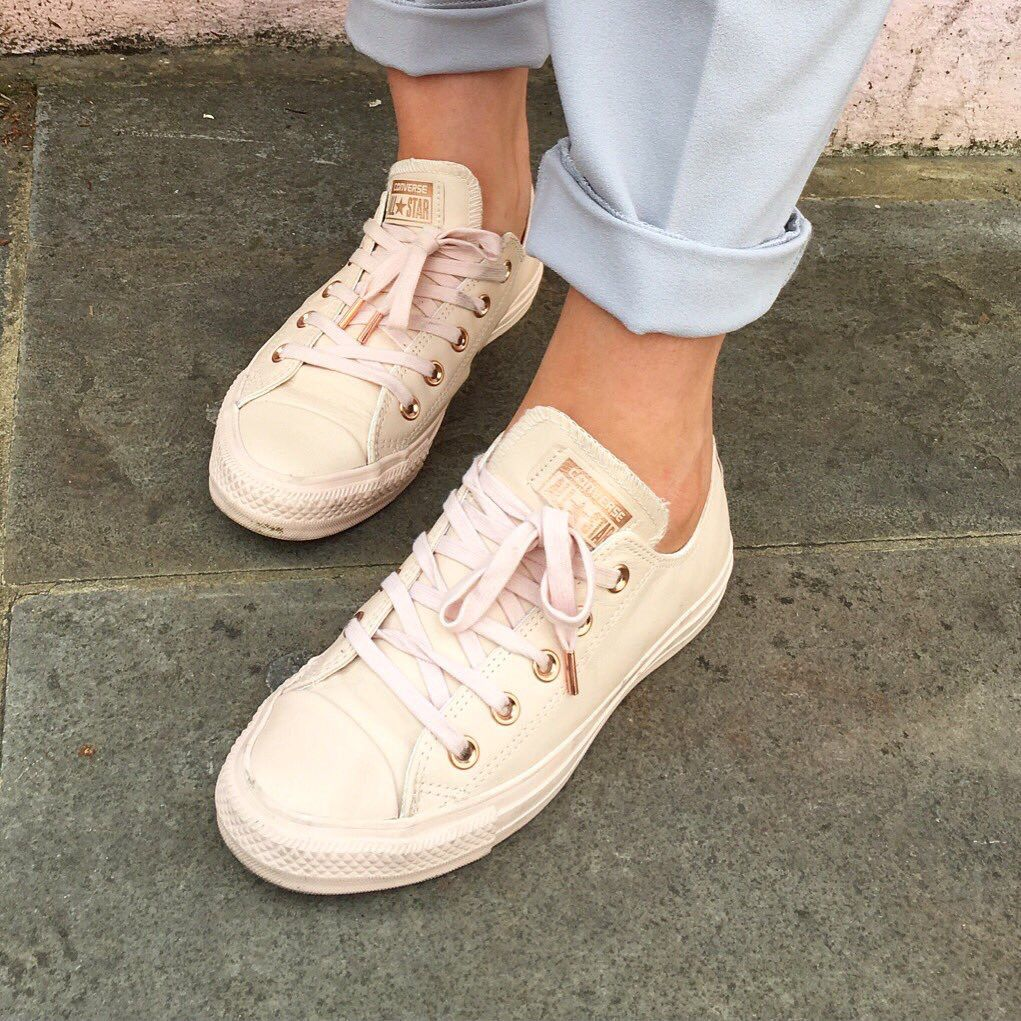 5f7fd15771d nude and rose gold low top converse as posted by Just Jodes on Twitter