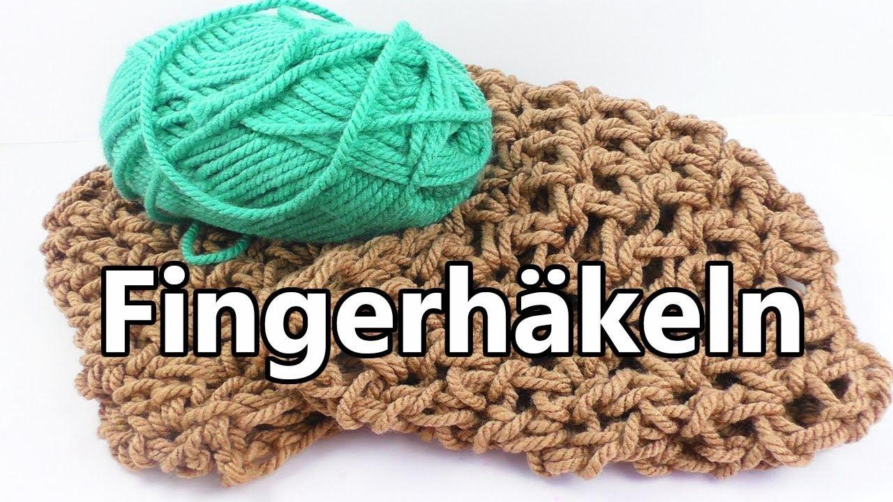 Herbst Schal Mit Den Fingern Häkeln Knitting Pinterest Häkeln