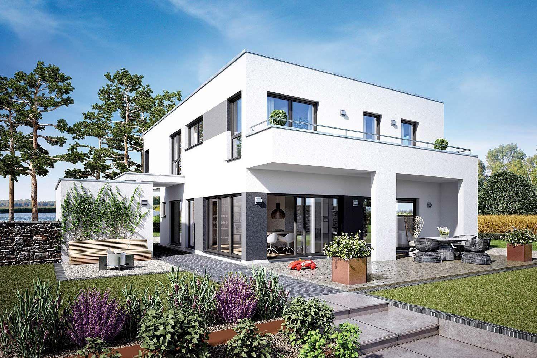 Stadtvilla mit doppelgarage flachdach for Fertighaus mit einliegerwohnung
