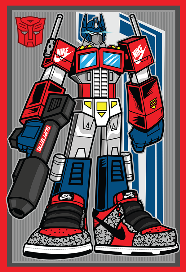 Here's my cool take on Optimus Prime and mashup of Streetwear brand Supreme not much more to say that!!! Autobots Transform and Rollout!!