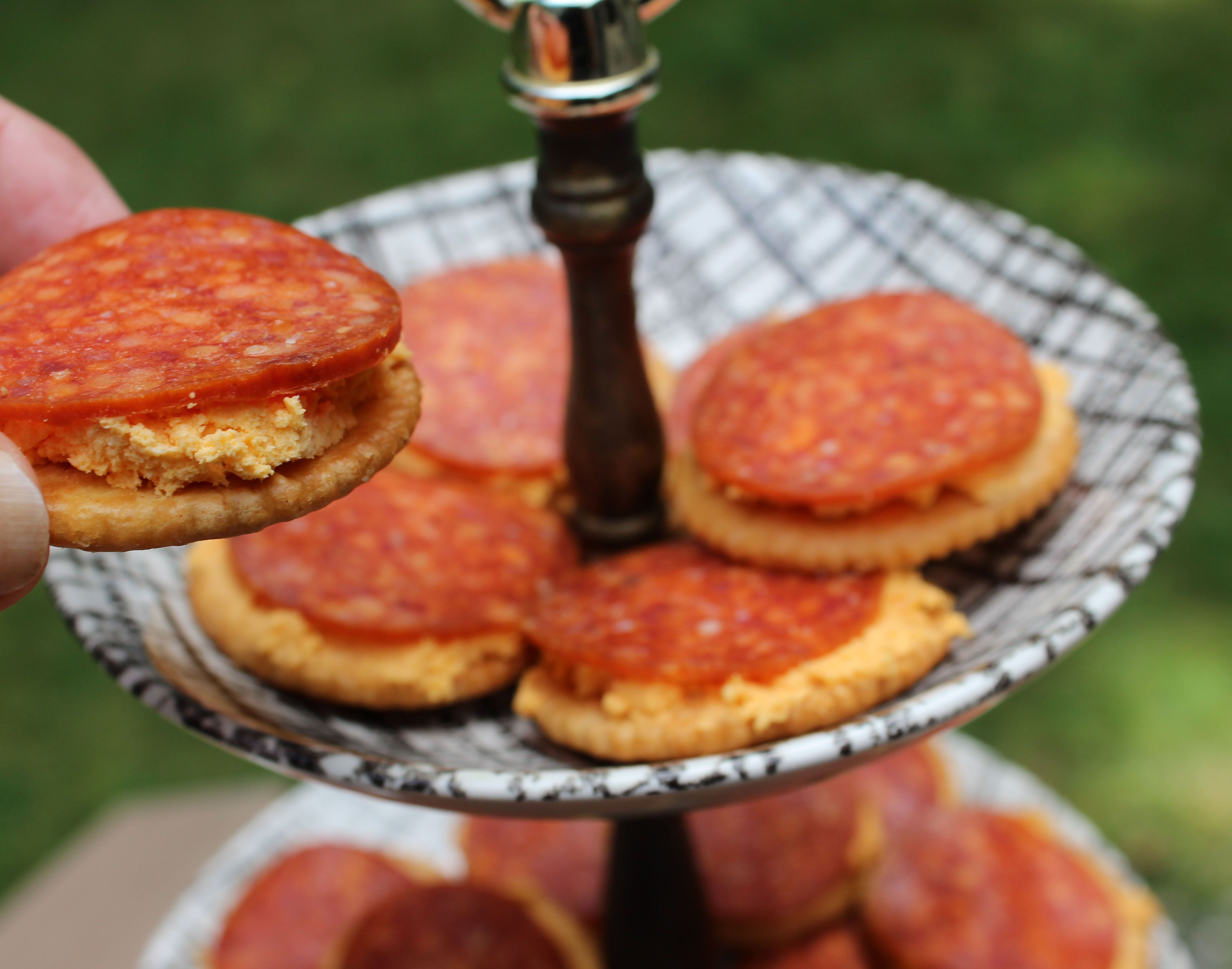 Perfect for Game Day!!   The easiest appetizer ever -- HORSERADISH PUB CHEDDAR AND PEPPERONI DELIGHTS.  They disappear like magic!  At YourPartyTunedUp.com