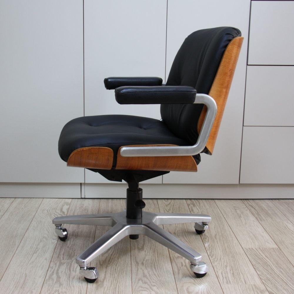 Swivel Giroflex Office Chair In Wood Black Leather 1960s Vintage Office Chair Swivel Armchair Swivel Chair Desk