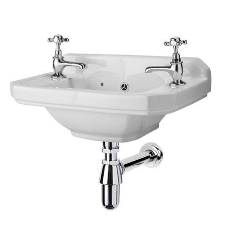 Carlton 515mm Traditional Cloakroom Basin 2 Tap Hole