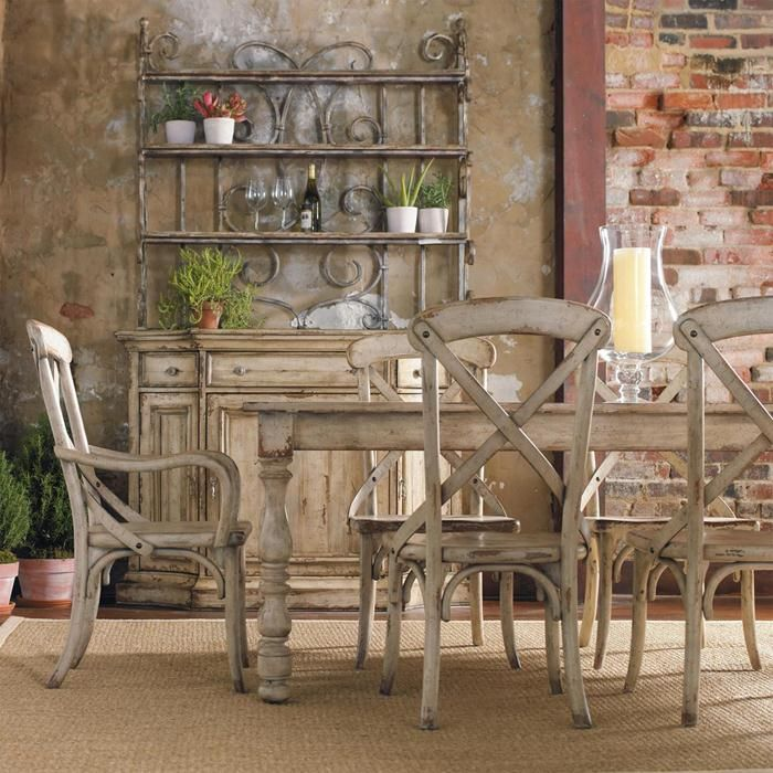 Wakefield 7 Piece Dining Set In Distressed Taupe With Cherry And Pine
