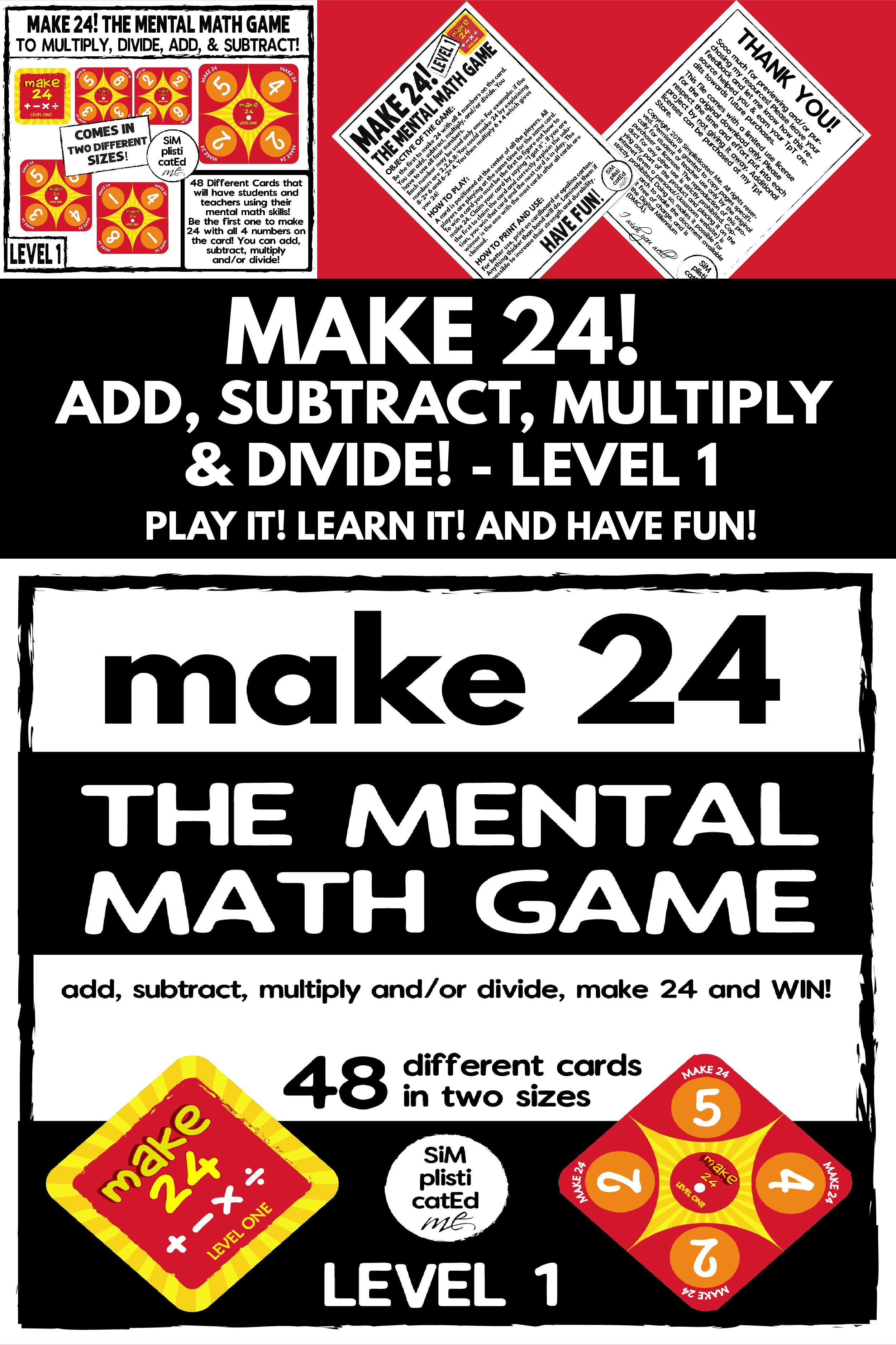Make 24 Game Multiply Divide Add And Subtract Level 1 Mental Math Mental Math Math Mental Math Games [ 3751 x 2500 Pixel ]
