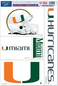 New! Miami Hurricanes 11x17 Ultra Decal Sheet #MiamiHurricanes