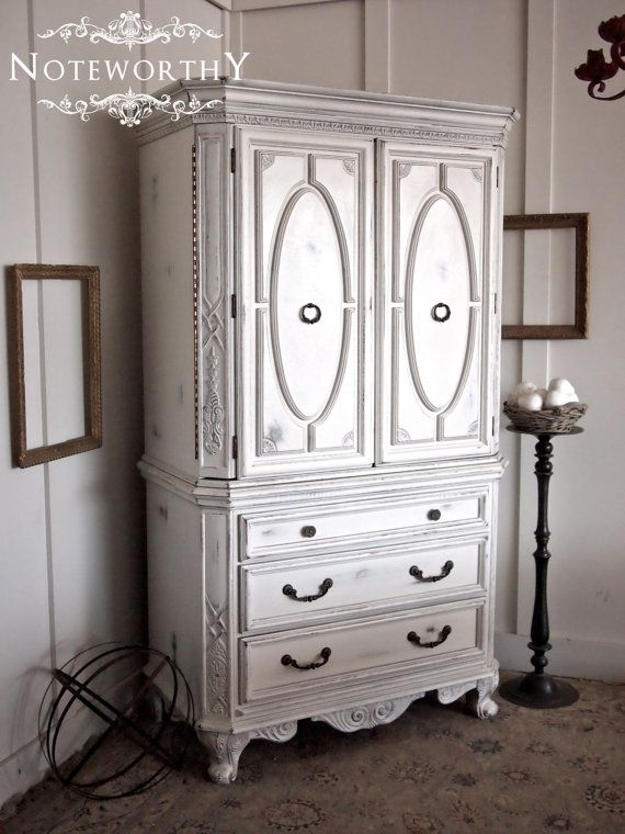 Charmant White French Armoire Painted And Distressed, Dark Grey Painted Inside,  Shabby Chic, Chippy