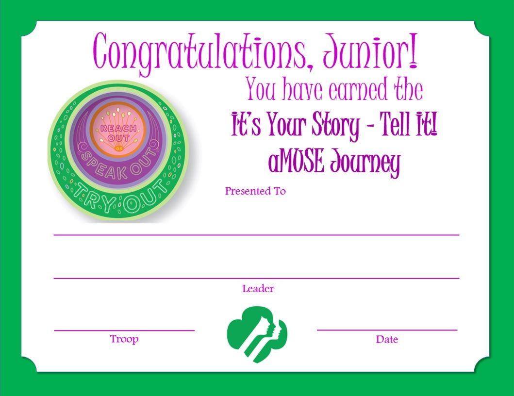 Junior Amuse Journey Award Certificate