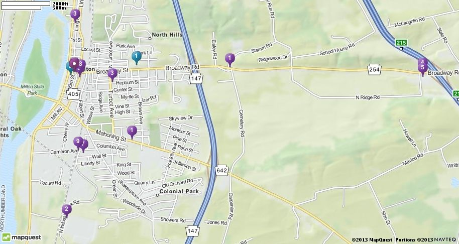 Map Of Milton Pa Milton Pennsylvania Hotels Restaurants