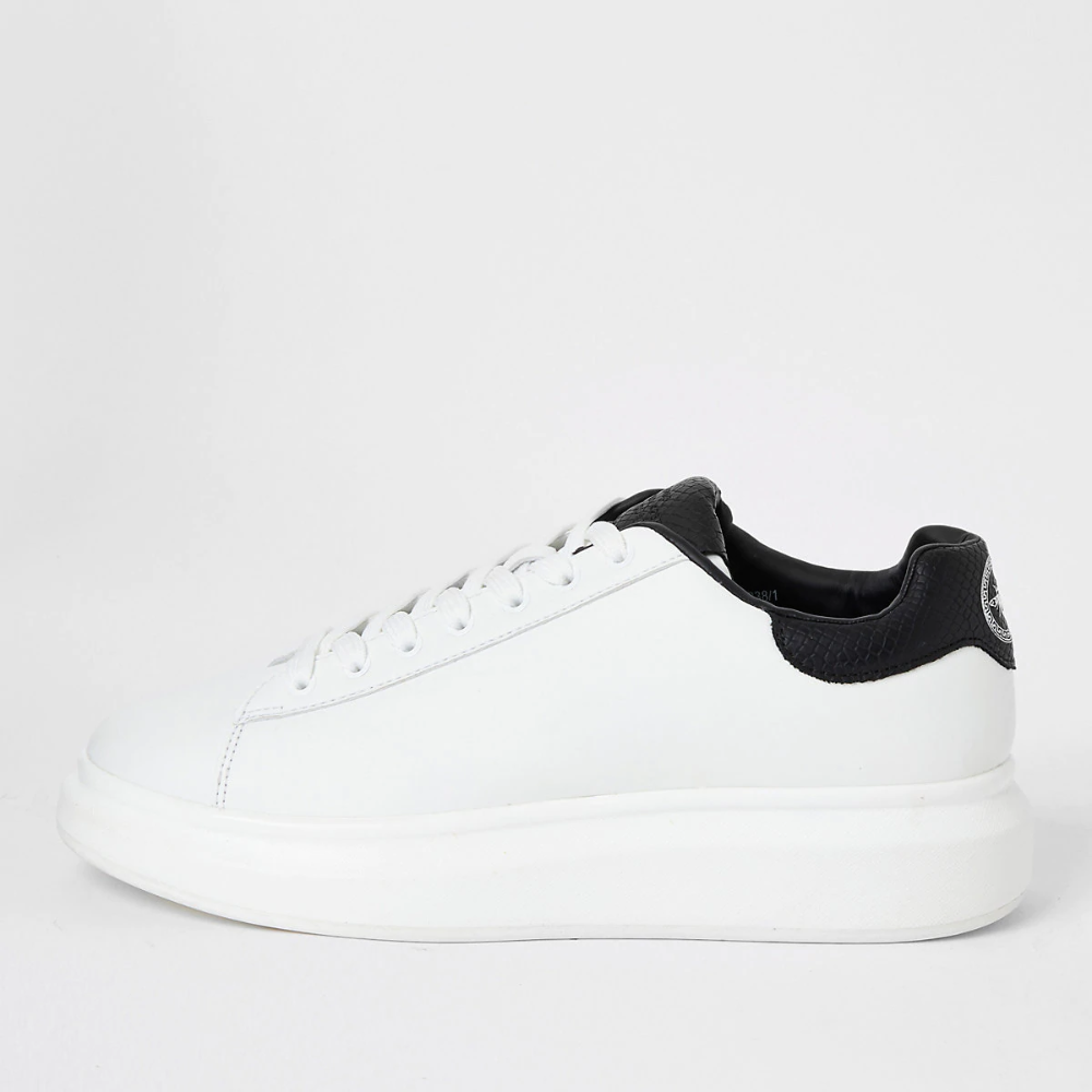 White chunky sole lace-up trainers in