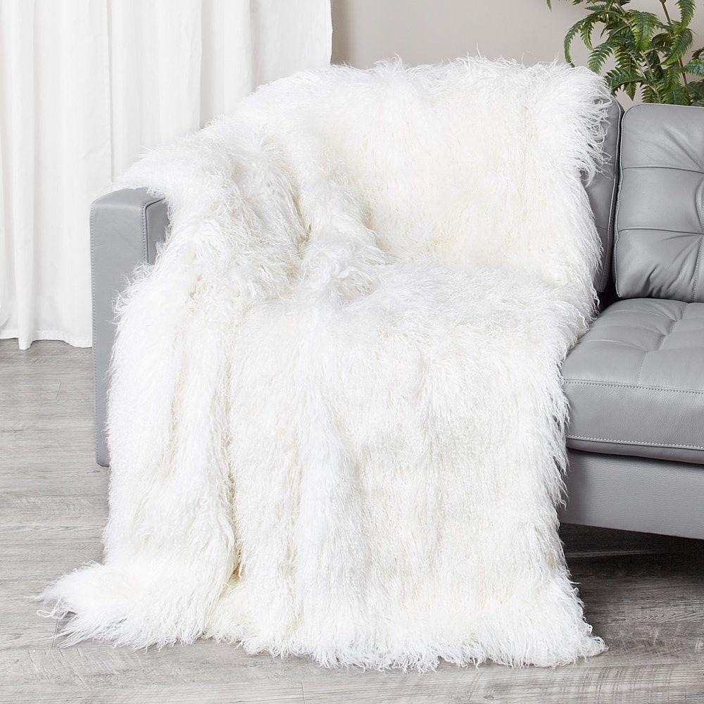 Mongolian Lamb Fur Blanket Fur Throw In White Fursource Com Fur Blanket Fur Throw Blanket