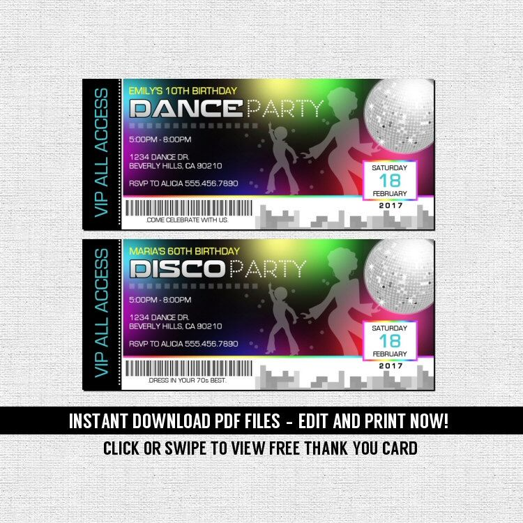 Dance 70 S Disco Ticket Invitations Birthday Party Instant