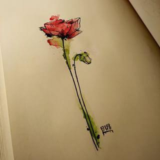 poppy flower watercolor by boogiemanu on deviantart tattoos pinterest blumen aquarell und. Black Bedroom Furniture Sets. Home Design Ideas