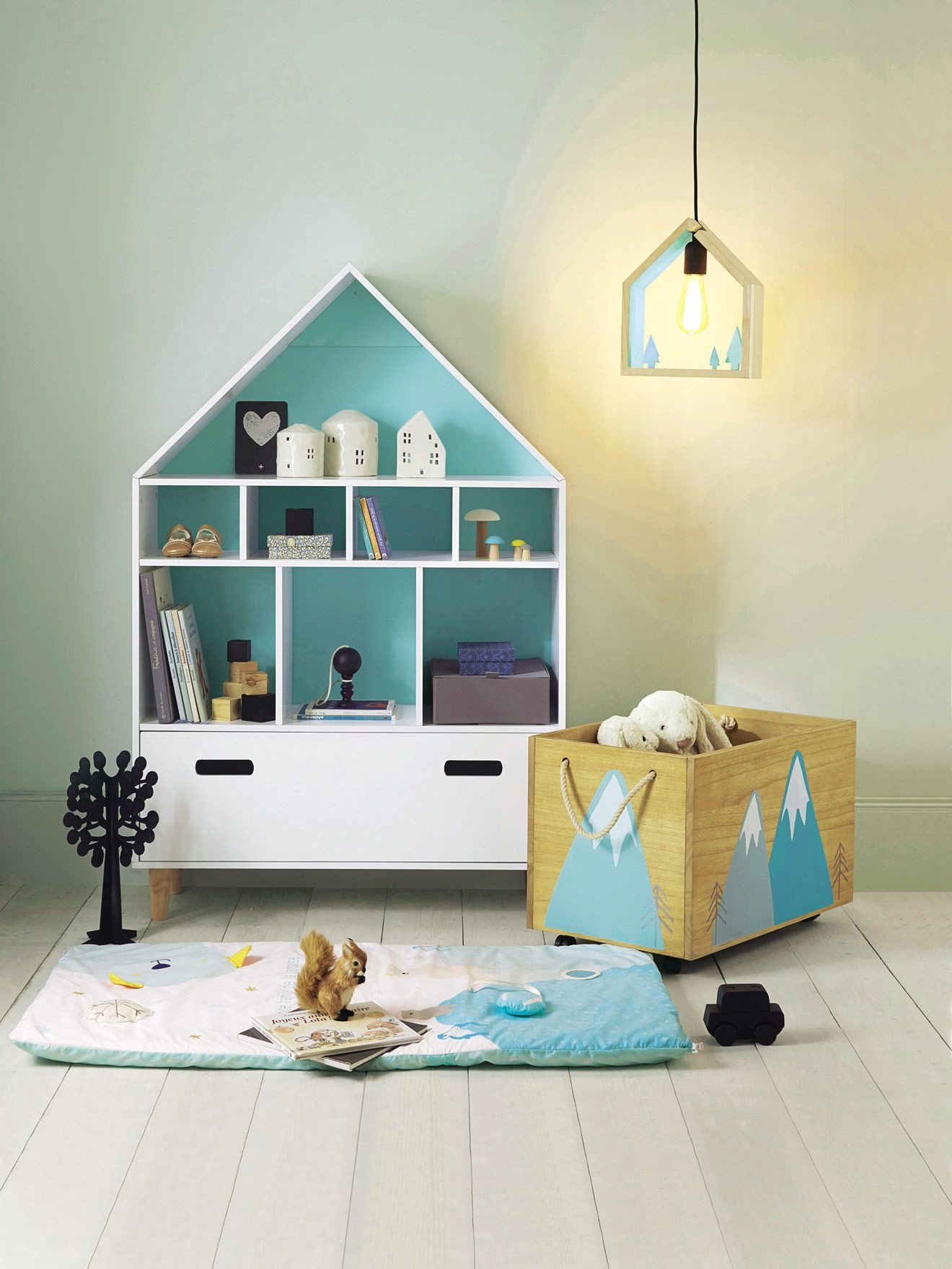 "bucherregal kinderzimmer vertbaudet, vertbaudet kinder-lampenschirm ""haus"" in natur/grün | kreatives, Design ideen"