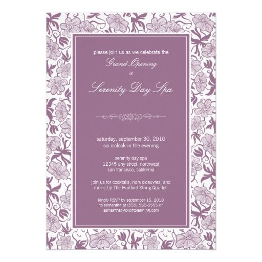 Fancy Floral Grand Opening Invitation (lavender) Grand opening - inauguration invitation card sample