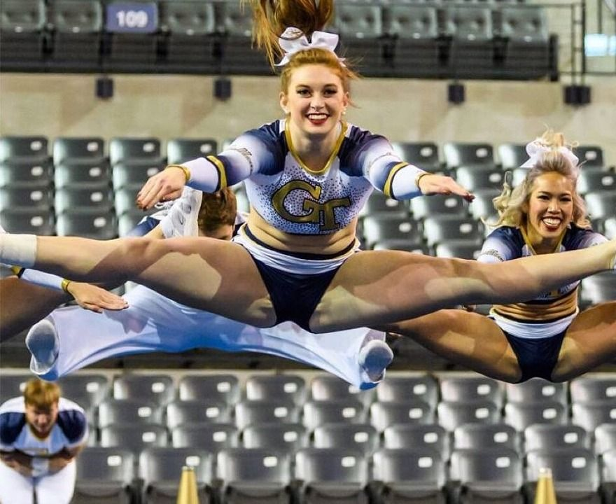 See more Georgia Tech cheerleaders HERE | Cheerleading, Cheerleaders oops, Football cheerleaders