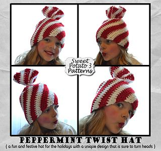This crochet pattern comes with complete instructions and illustrations for this fun, unique and quirky Peppermint Twist Hat. Designed to resemble the ever popular Christmas candies-peppermint twist, this hat is sure to turn heads. The pattern has sizes from newborn up to adult.