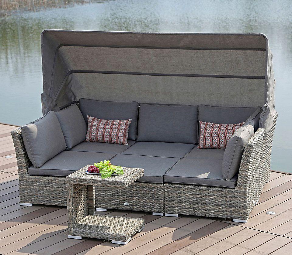 Loungebett »Hawaii«, Polyrattan, Braun, Inkl. Auflagen #garten #balkon