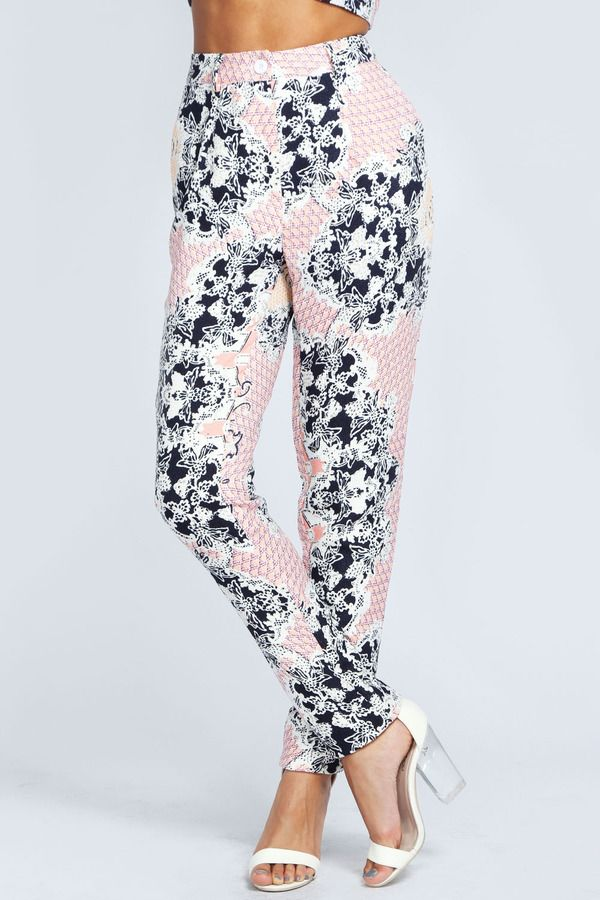 20b14146eb11f Boohoo Marnie Rococo Print Peg Leg Trousers on shopstyle.co.uk with white  strappy heels and a tank top - so lush.