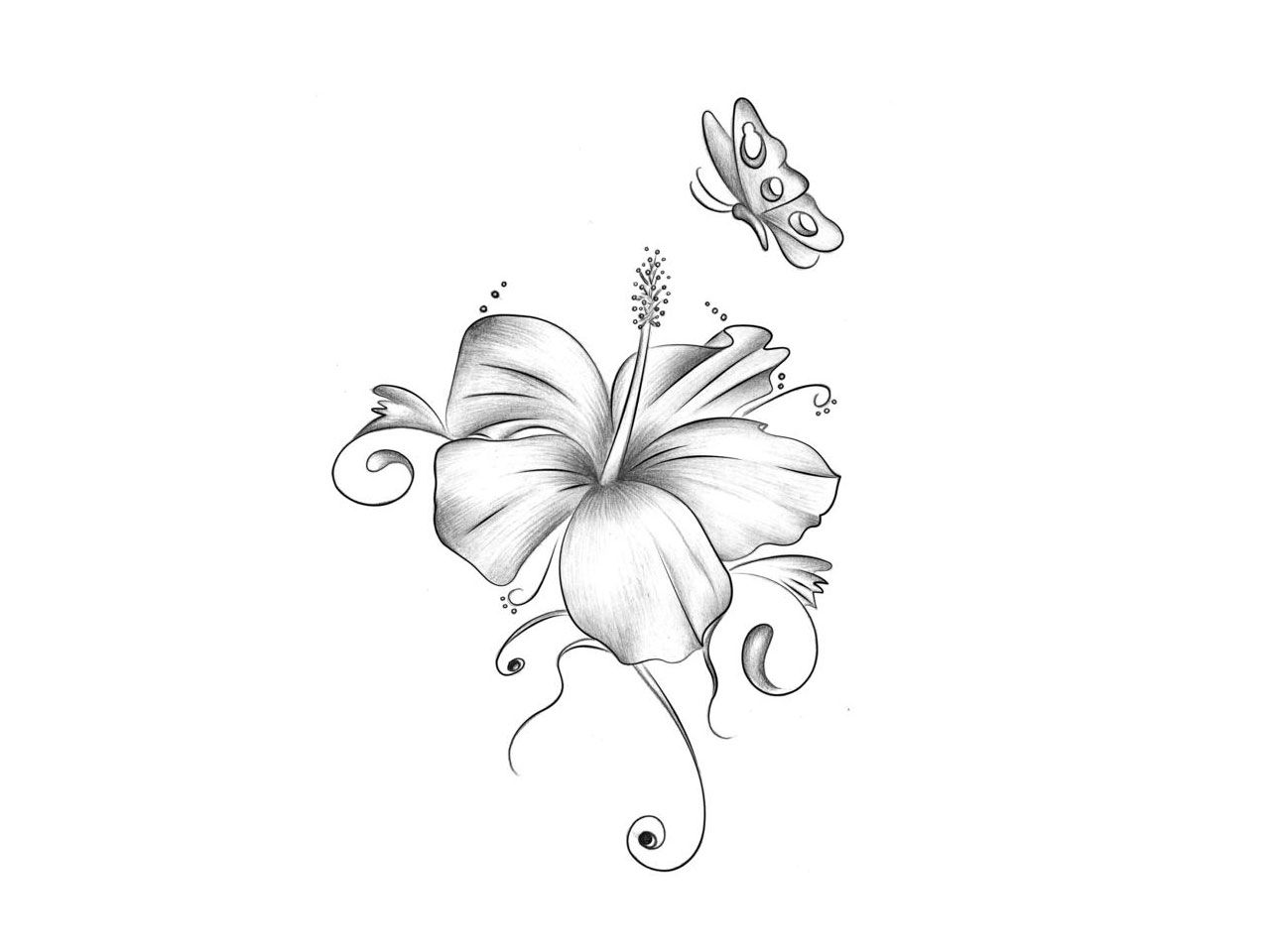 Butterfly With Flower Tattoos For Women