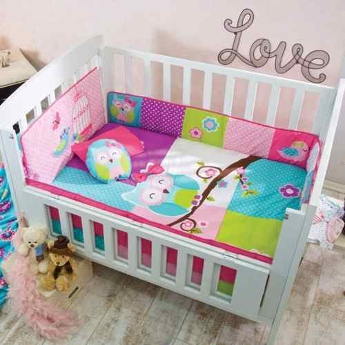 Baby Girl Blue, Green, Pink Owl Nursery 6 Pieces CRIB BEDDING SET