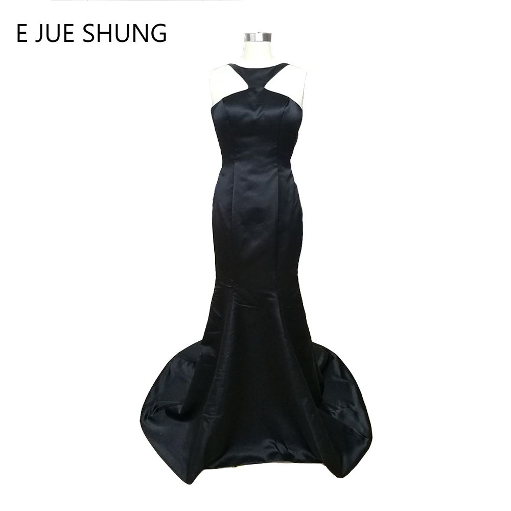 Click to buy ucuc e jue shung simple black satin mermaid evening