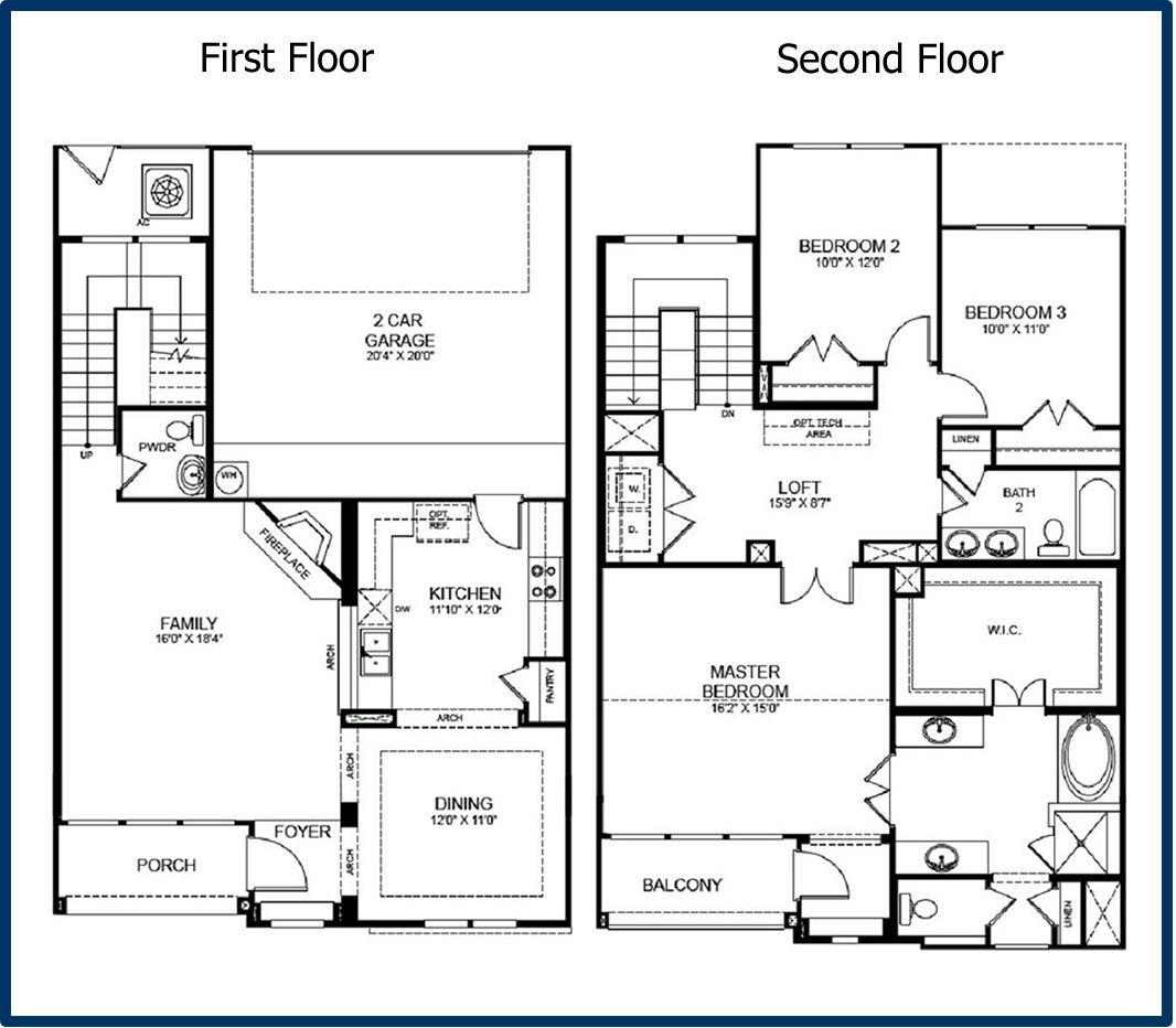 Bedroom Floor Plans House Well Story Three Flat Plan Home