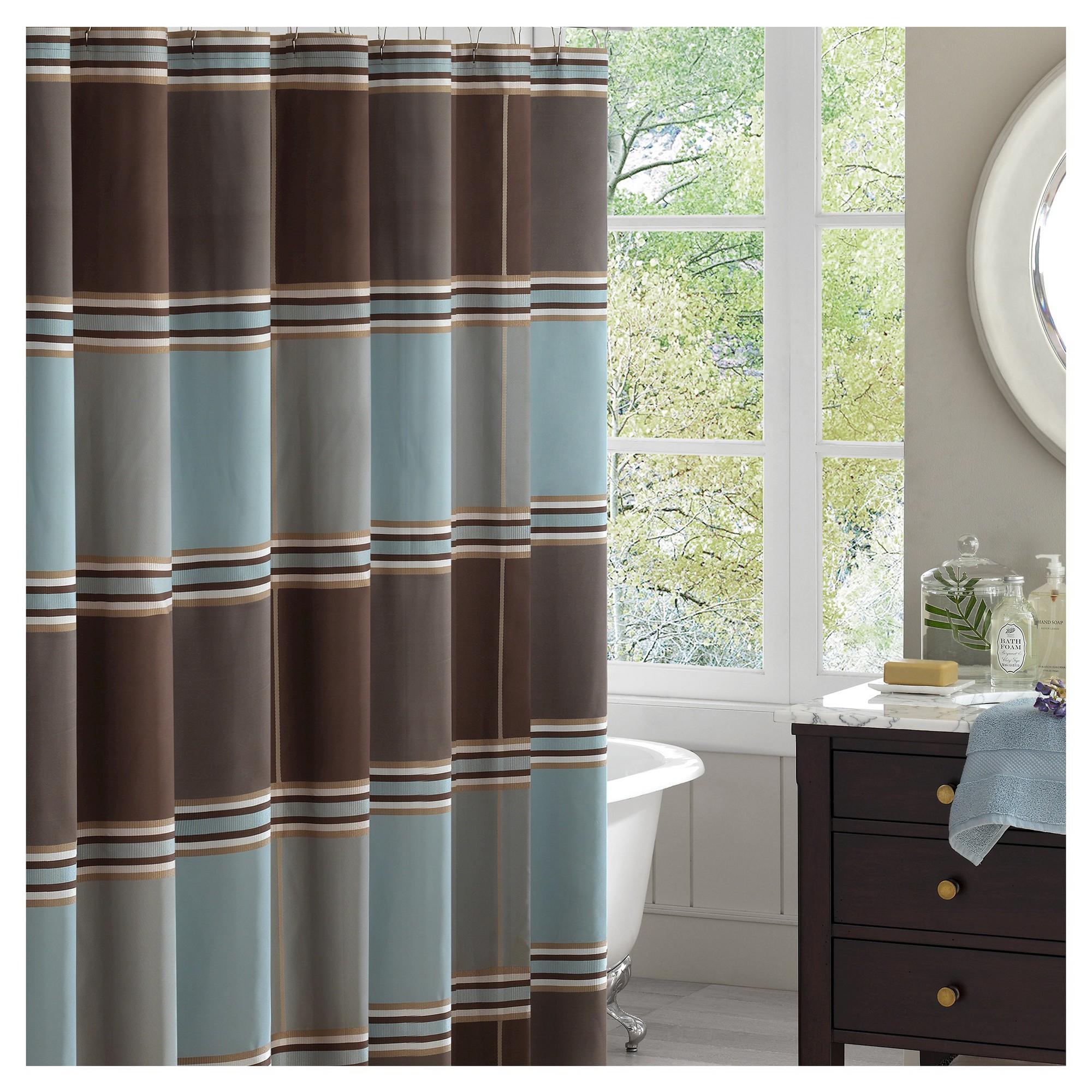 Bradley Striped Jacquard Shower Curtain Brown Blue