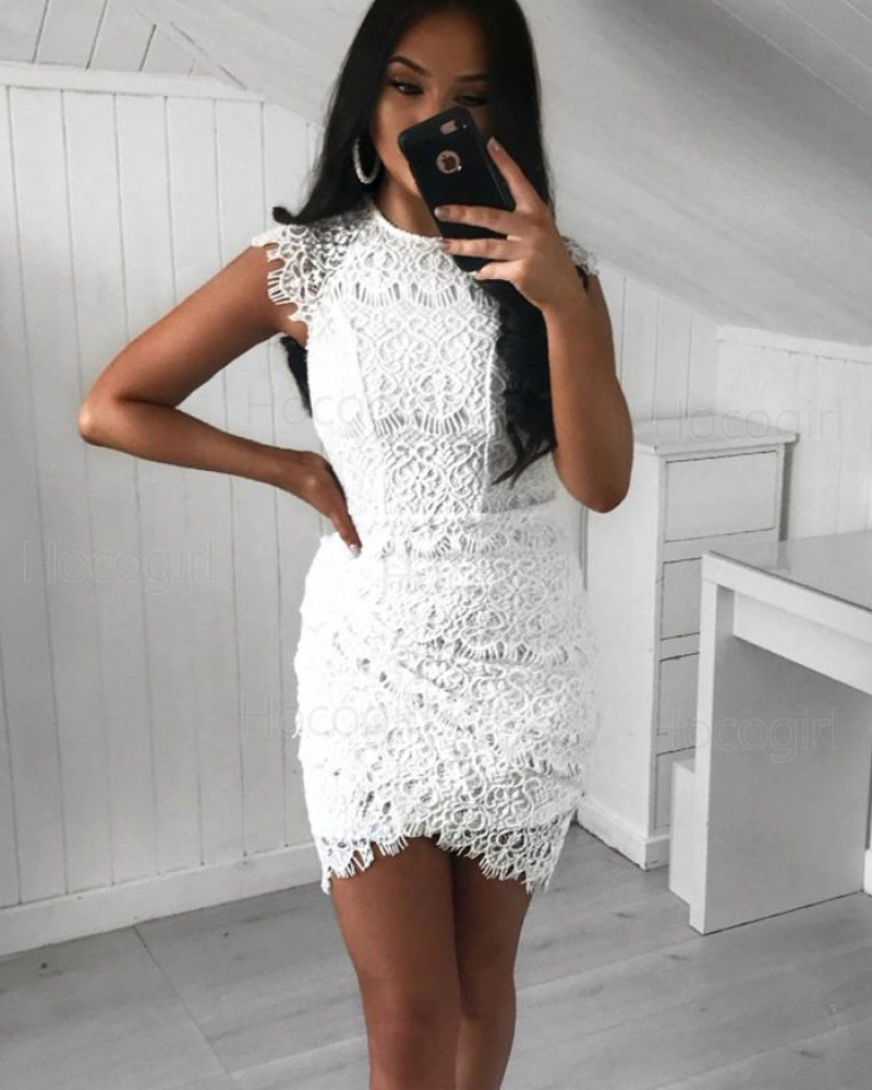 High Neck White Lace Tight Party Dress With Tulip Skirt Hd3164 Lace Homecoming Dresses Short White Homecoming Dresses Lace Homecoming Dresses [ 1000 x 800 Pixel ]