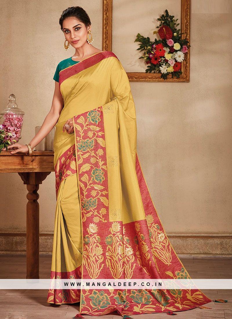 db6c5d95e3c21 Fancy Weaving Print Design On Classic Yellow Color Designer Saree  yellow   silk  saree