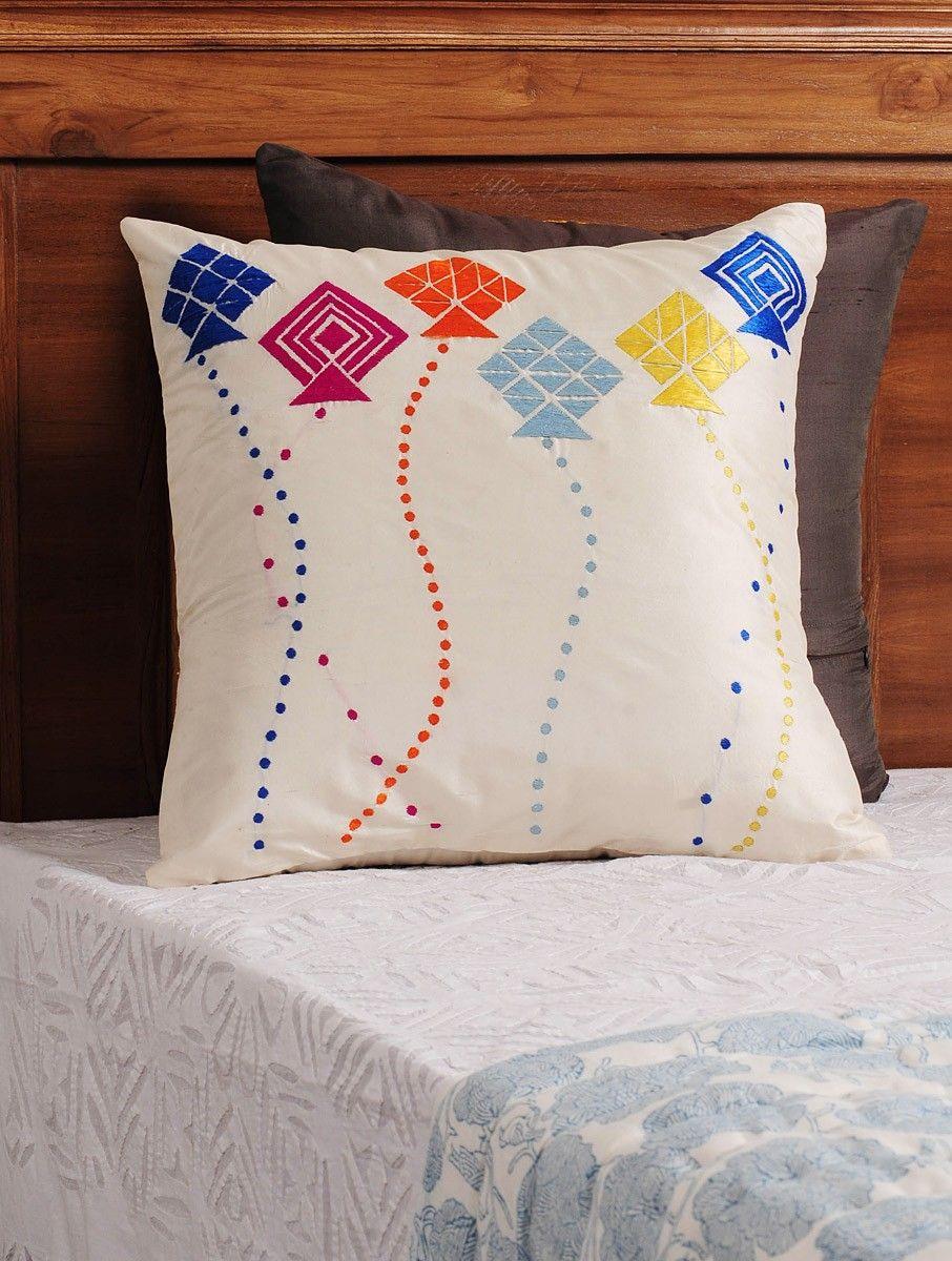 Buy cream multi color kite phulkari embroidered silk