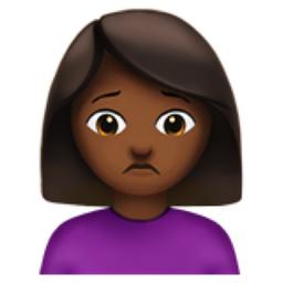 The Woman Frowning Medium Dark Skin Tone Emoji On Iemoji Com Medium Dark Skin Tone Dark Skin Tone Dark Brown Skin Color