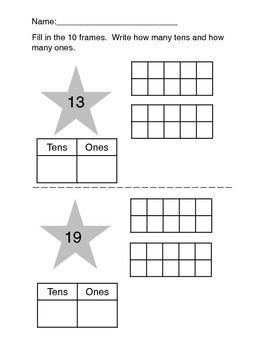 simple kindergarten place value worksheets taking apart numbers 11 19 math place value. Black Bedroom Furniture Sets. Home Design Ideas