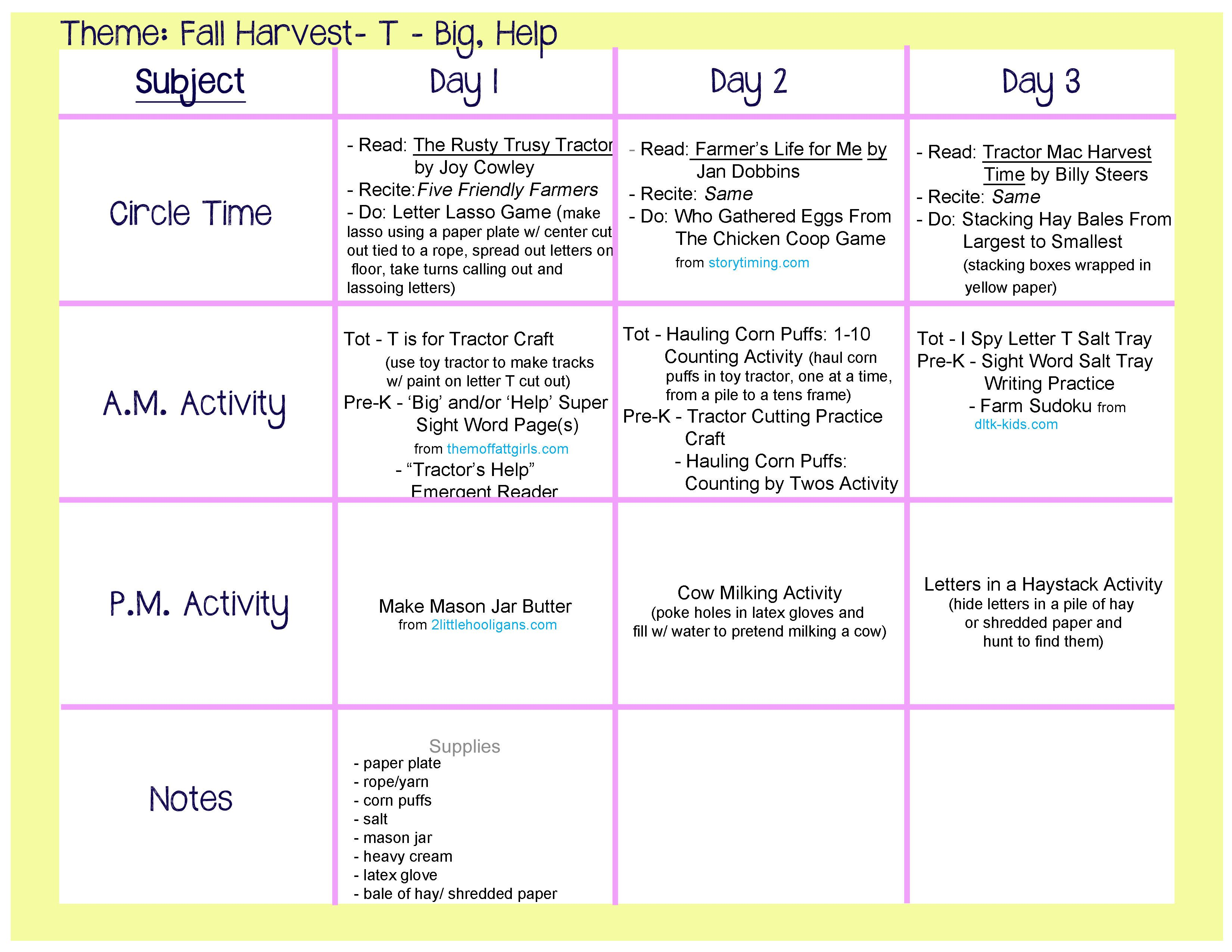 Fall Harvest Lesson Plan Farm Theme Activities For