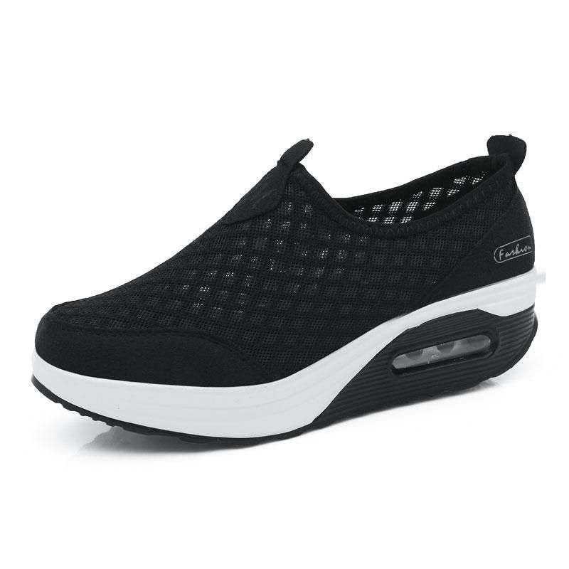 GIY Womens Mesh Slip On Wedges Platform Walking Shoes Comfort Lightweight Slip-on Fitness Work Out Sneaker Shoes