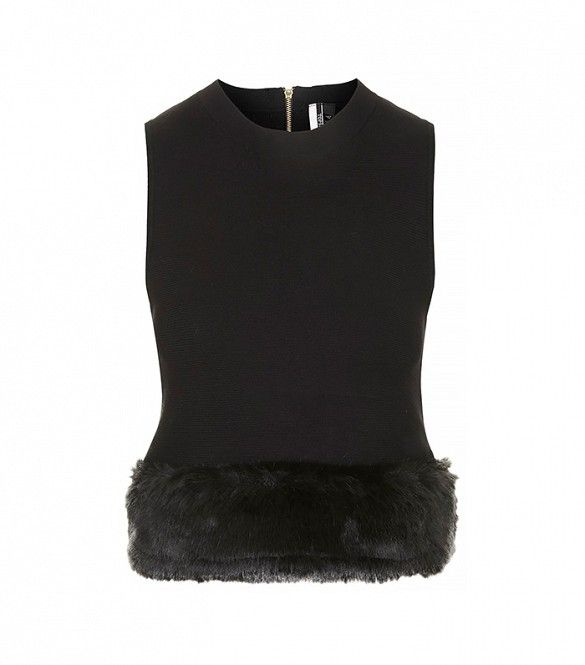 Topshop Faux Fur Trim Knitted Top in Black