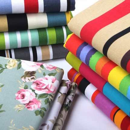 Rainbow Colored Ticking Stripes Cotton Canvas Fabric Heavy Duty