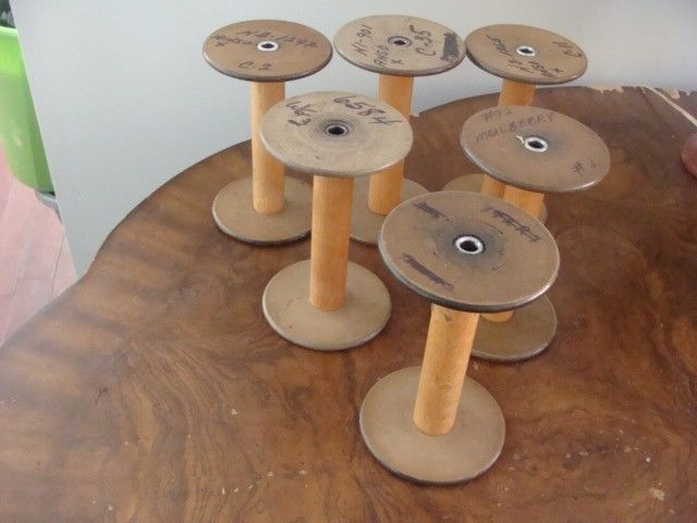 6 Wooden Spools  Vintage Industrial Sewing Textile Mill Thread Yarn Spindles  .. Coat hooks for mud room
