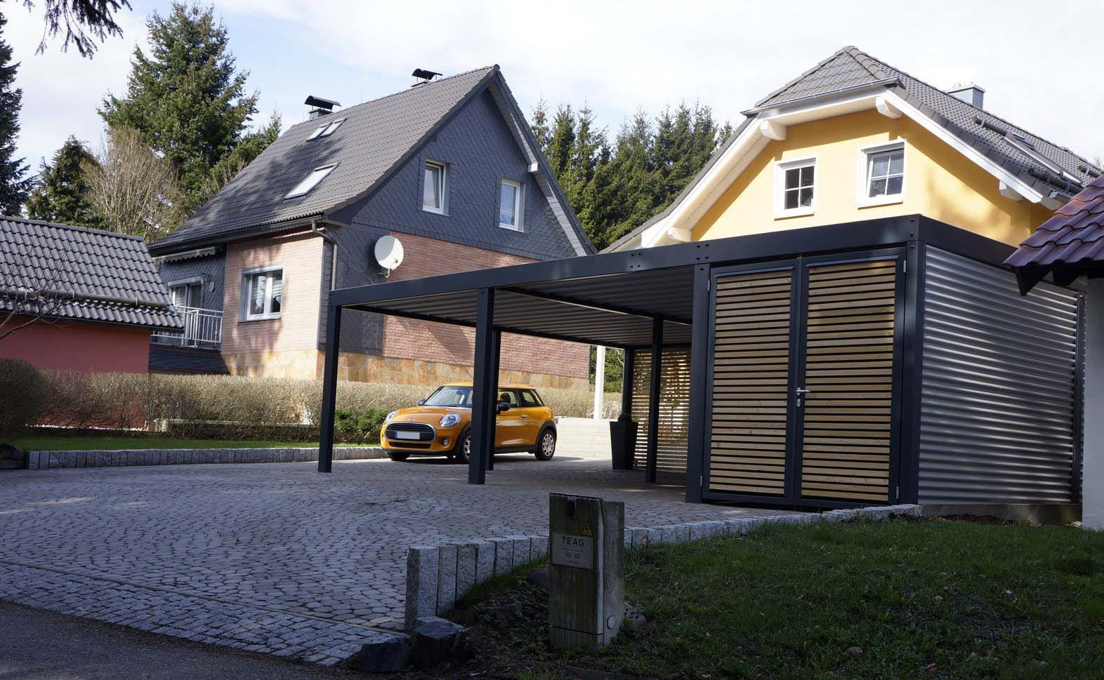 design metall carport aus stahl holz mit abstellraum wien. Black Bedroom Furniture Sets. Home Design Ideas