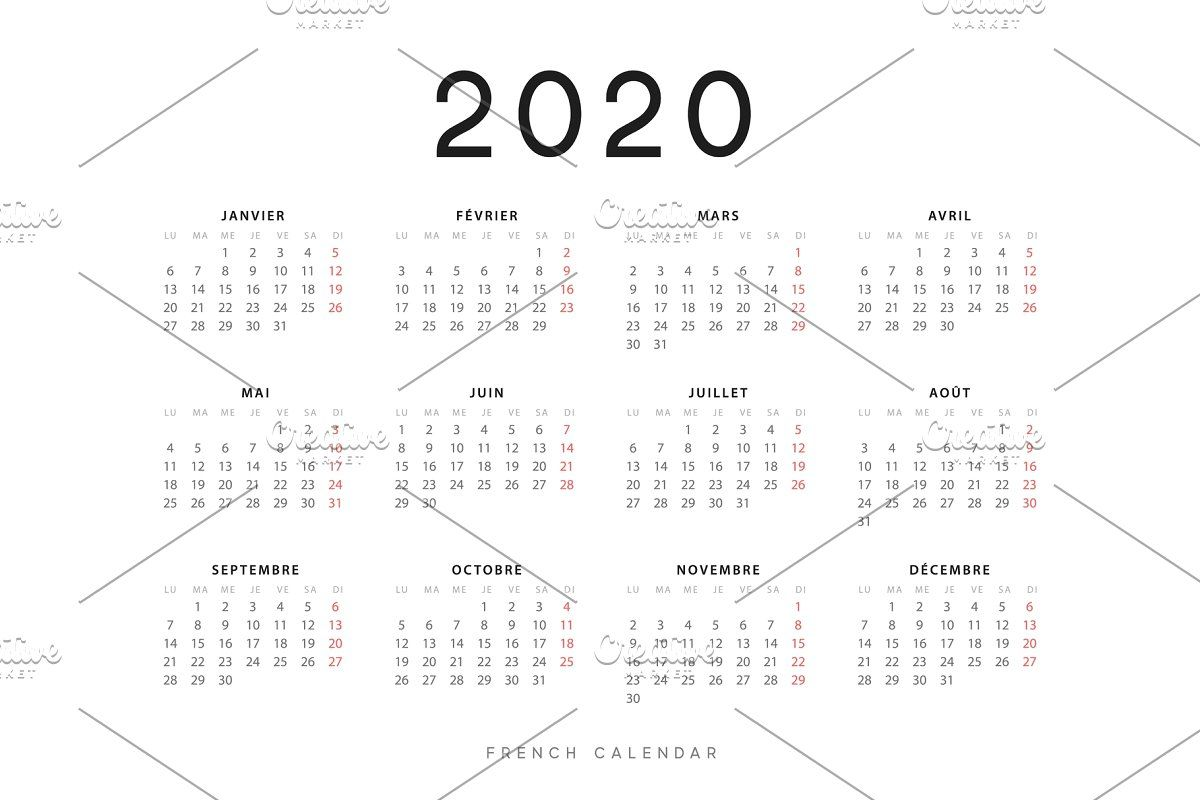 French Calendar for 2020 , #Aff, #Week#starts#Monday#
