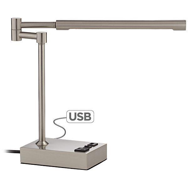 Slimline Swing Arm Led Desk Lamp With Outlet And Usb Port Eu8r829 Euro Style Lighting Desk Lamp Led Desk Lamp Lamp