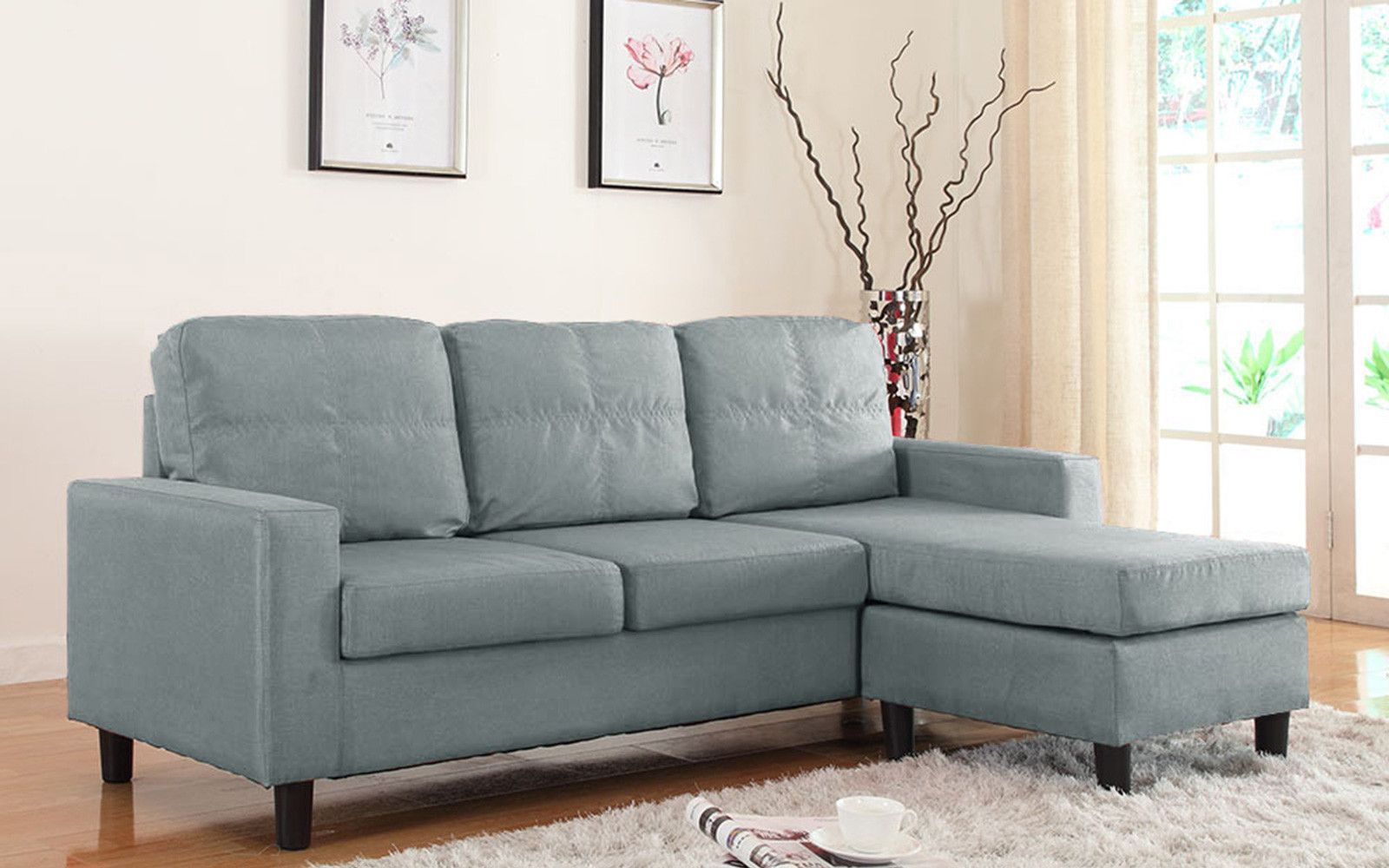 Best Metro Modern Reversible Small Linen Sectional Sofa With 640 x 480