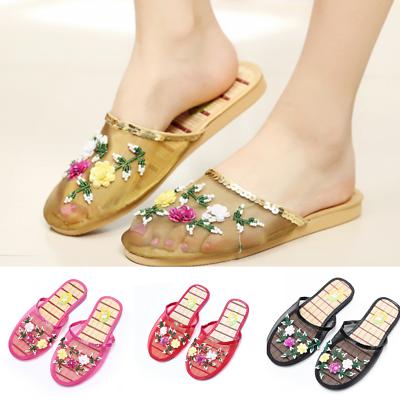 b4ab5cd88 Women-Chinese-Mesh-Sequin-Bead-Slippers-Embroidery-Slides-Slip-on-Sandal- House