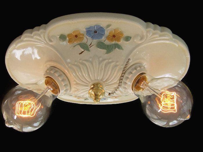 light fixture rewired new sockets ceramic pull chain bathroom light