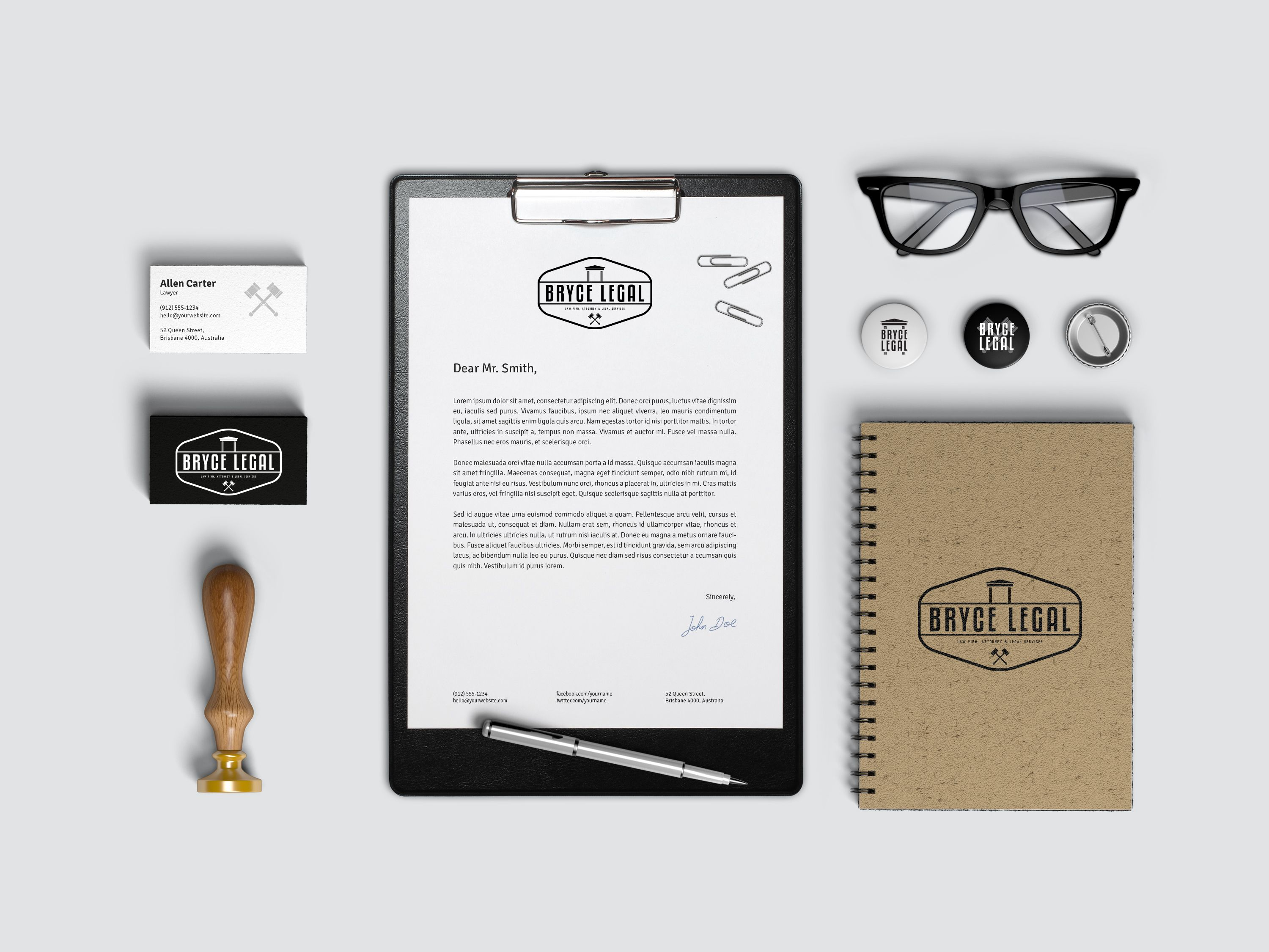 Bryce Legal Stationery Branding Identity Large designed by