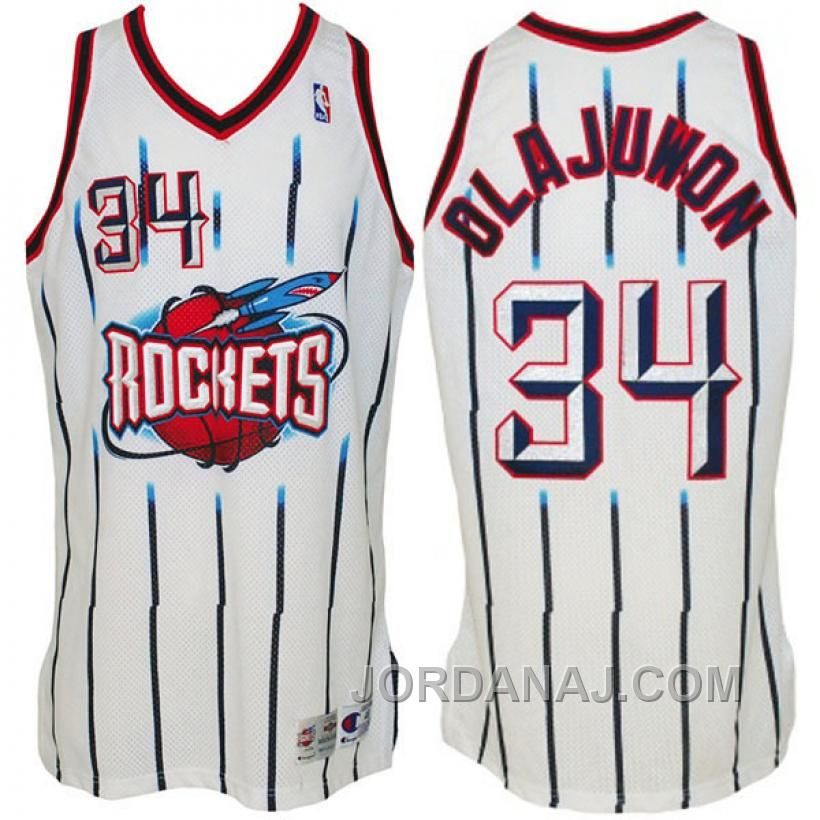 Houston Rockets  34 Hakeem Olajuwon Hardwood Classics Swingman White Stripe  Jersey Air Jordan 1afd7e6c0a44