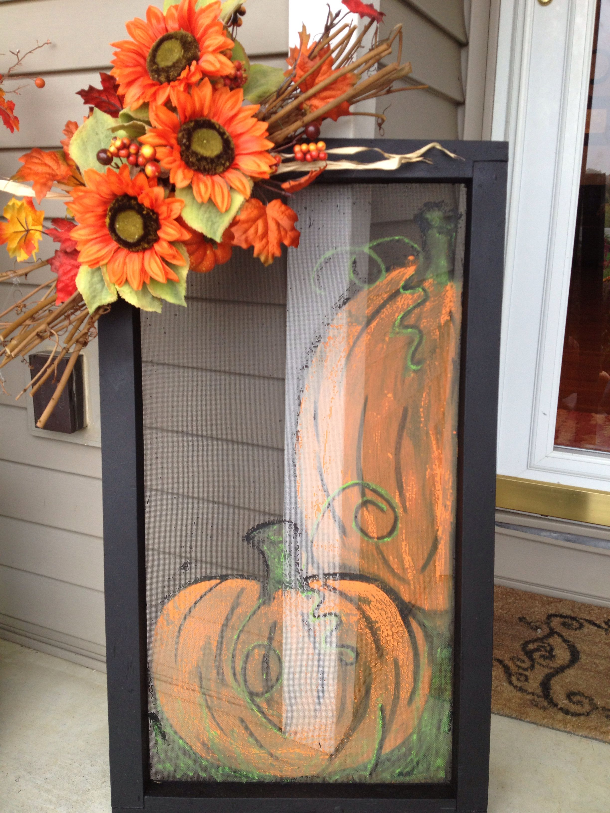 Fall Pumpkins Painted On An Old Window Screen Garnished With Fall Floral Arrangement Beautiful On The Porch Fall Pumpkins Painting Window Crafts Fall Decor
