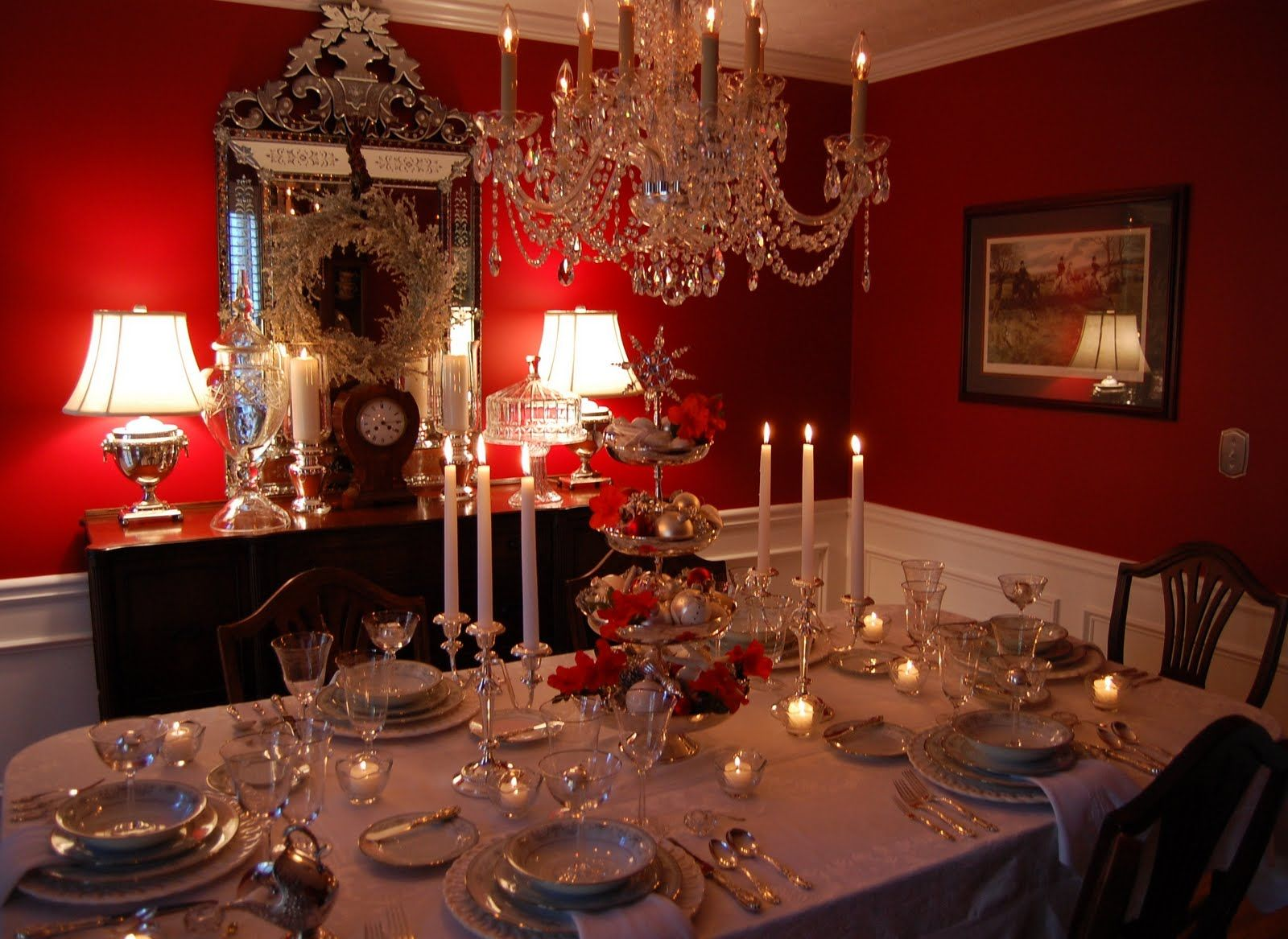 Dining Room Elegant Christmas Tables Centerpiece Decoration Ideas Tablescape Table Setting With Silver Tiered