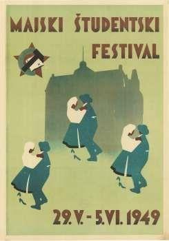Majski Studentski Festival 1949 50 X 32 Cm Vintage Posters Poster Festival
